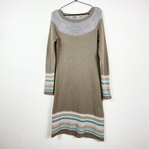 Athleta FairIsle Tan Sweater Dress Cashmere Blend